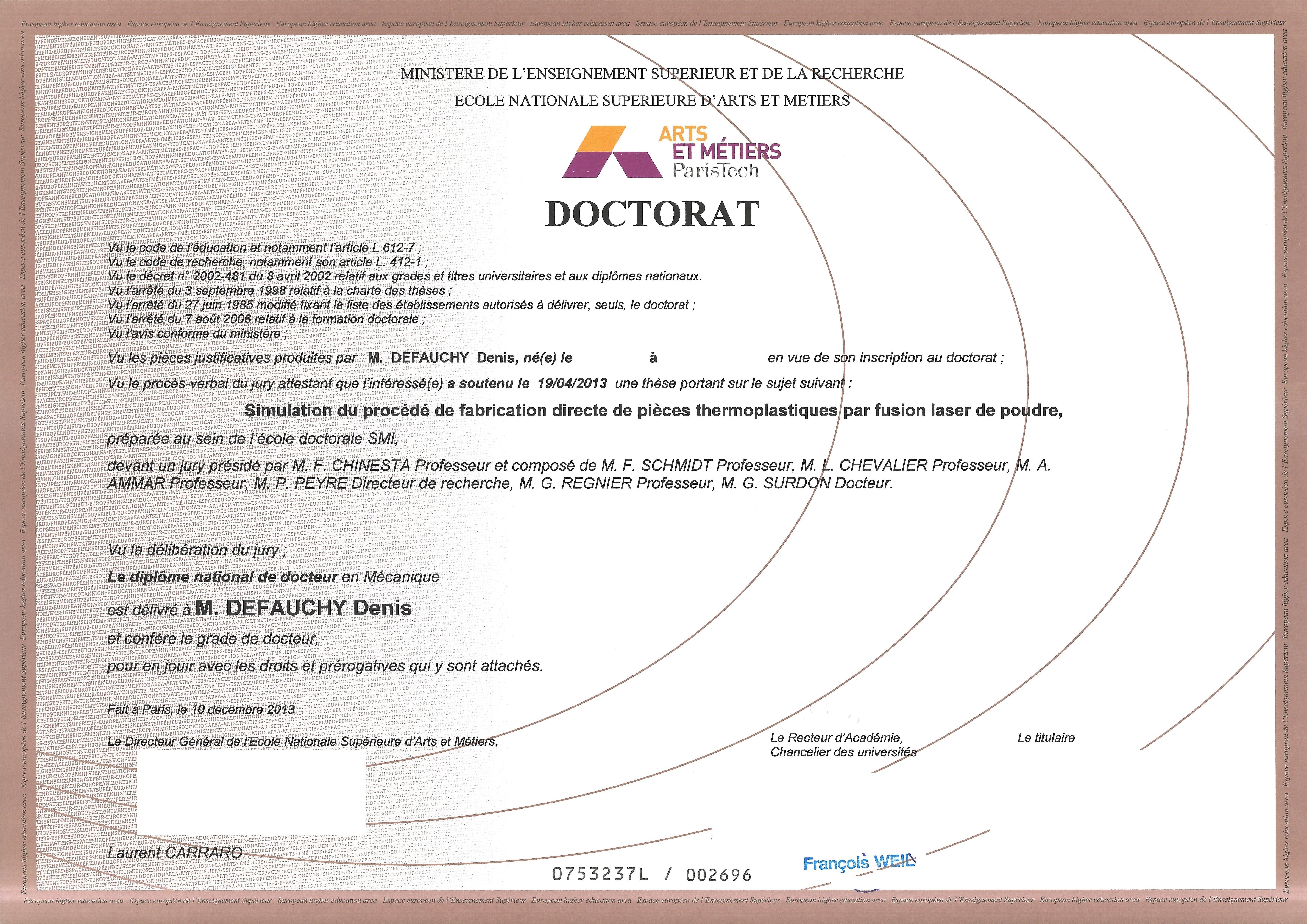 Diplôme de Docteur