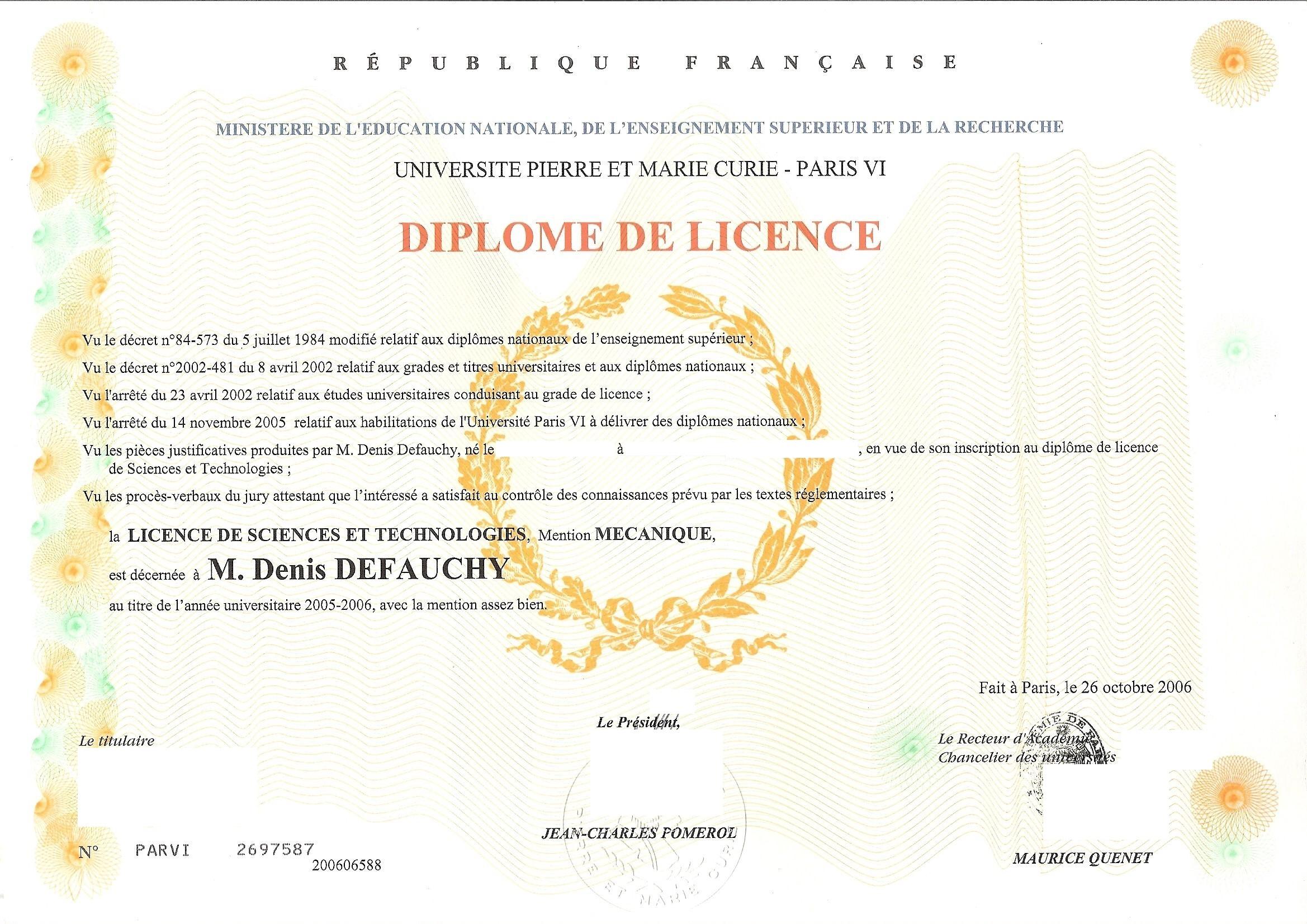 Diplôme de Licence de Denis DEFAUCHY