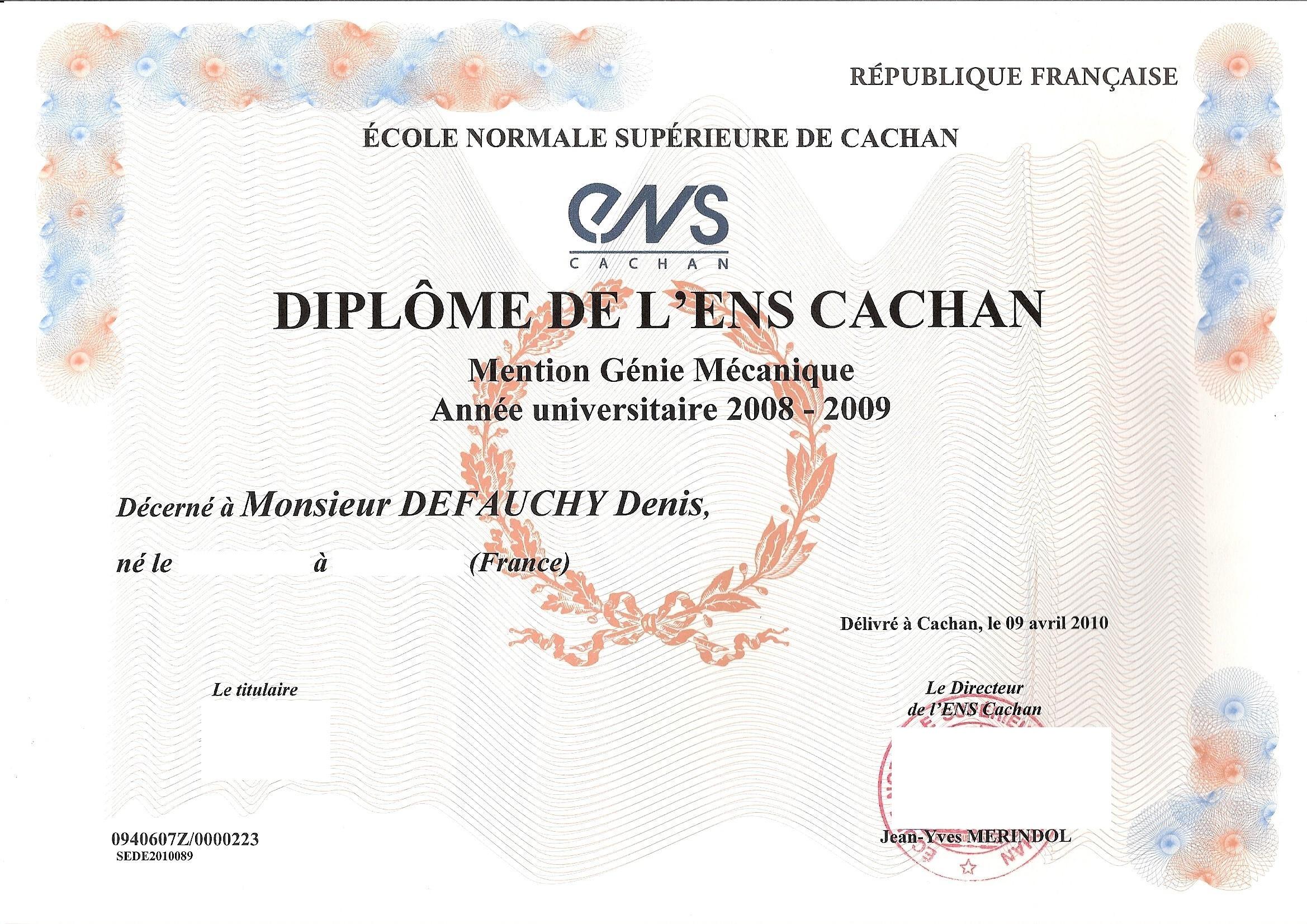 Diplôme de l'ENS Cachan de Denis DEFAUCHY
