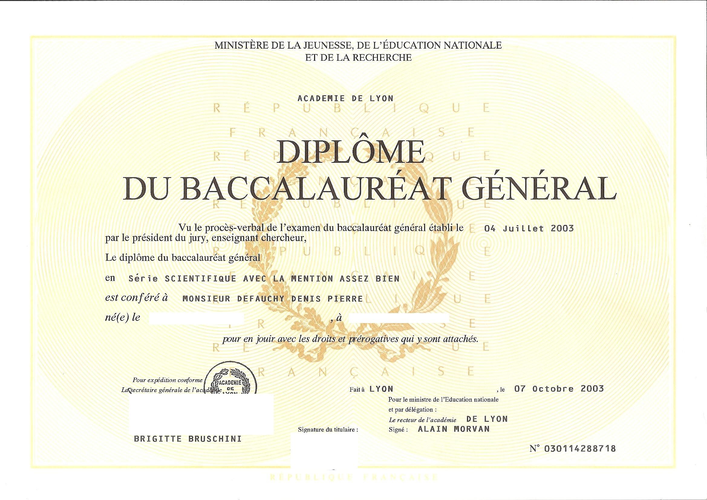 diplome de baccalaur u00e9at