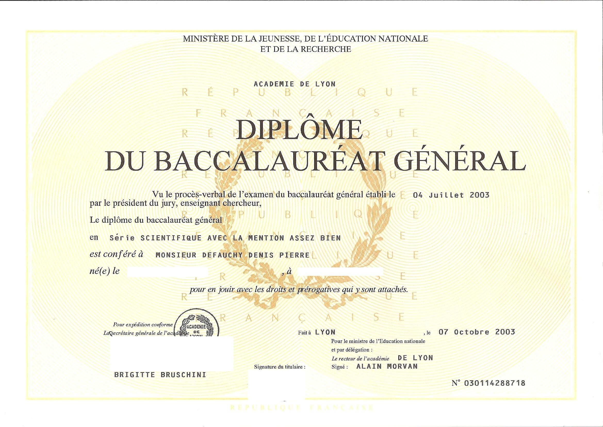 Diplôme du BAC de Denis DEFAUCHY
